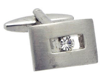 Antique/Vintage Silver tone Rectangle Cufflinks with Crystal #1408