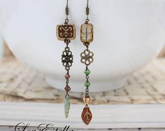Green Rustic earrings, Asymmetrical earrings, Earthy earrings, Nature inspired, Tribal earrings, Woodland Earrings Gypsy earrings - Earth