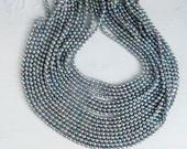 3-4mm  Peacock gray rice  freshwater pearls, FULL STRAND (16 inches)
