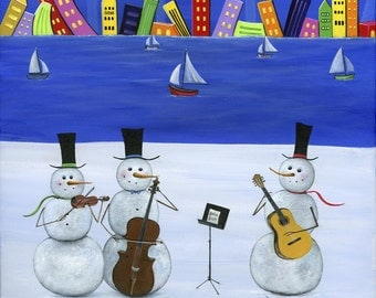 Original Painting Hilly Hit by the Harbour by Brianna - 12x12 - Snowman Winter Folk Art 3 Piece Band playing Strings -OOAK Acrylic on Canvas