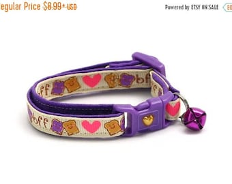 ON SALE Best Friends Cat Collar - Peanut Butter and Jelly BFF on Cream - Small Cat / Kitten Size or Large Size