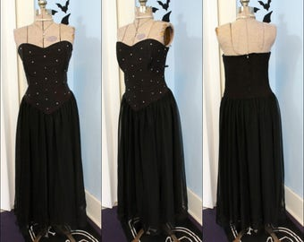 Vintage 80s 90s Strapless Rhinestone Dress Modern Size Medium Large Long Black Chiffon Prom Cocktail Party