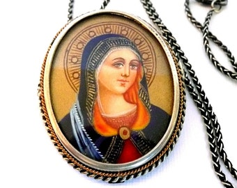Vintage Painted Blessed Virgin Mary Silver Brooch Necklace