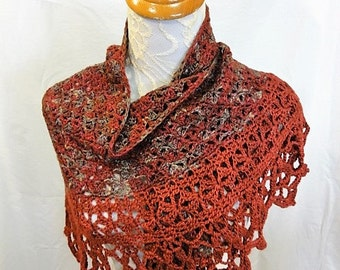 burgundy, olive and tan lacy merino silk shawl