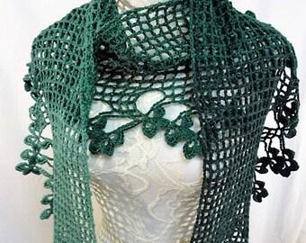 shamrock edged shawl/scarf merino cashmere blend 5 shades of green