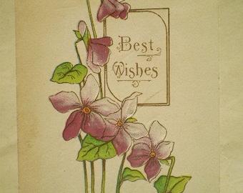 Best Wishes - 1915 - Goshen & Wakarusa, Indiana - Purple Violets - Antique American Postcard