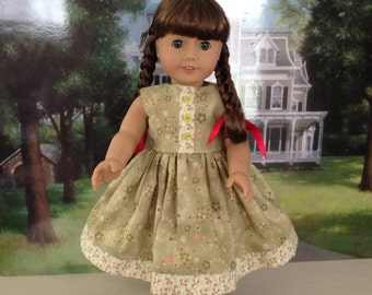 Doll Dress to fit 18 inch dolls--Florals Scattered on a pretty green background cotton fabric
