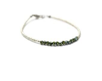 Minimal Bracelet; Thin Silver Bracelet; Elegant Bracelet; Thin Bracelet; Seed Bead Bracelet; Minimalist Bracelet; Laying Jewelry; Delicate