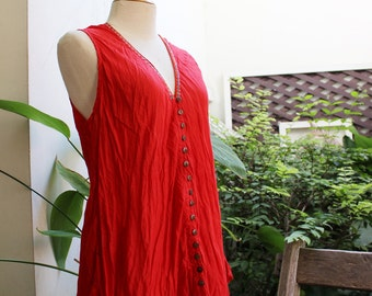 Comfy Roomy V Sleeveless Top - Red