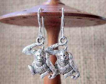 Orangutan Dangle Silver Earrings - Orangutans Great Apes The Librarian drops