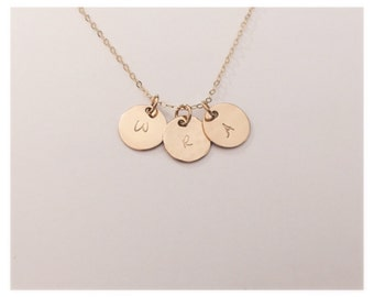 Gold initial necklace/Initial Necklace/ Monogram Necklace/ Name necklace/Coin necklace