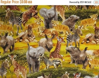 ON SALE Golden Safari Animals Print Pure Cotton Fabric from Timeless Treasures--One Yard