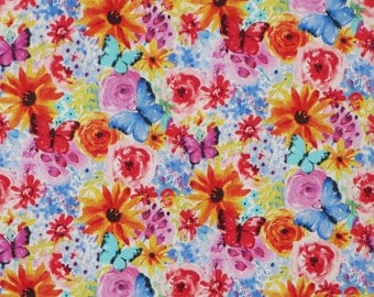 Colorful Big Bang Blossoms Floral Print Pure Cotton Fabric--By the Yard