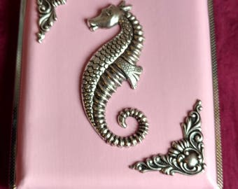 Beneath the Sea v.2 cigarette case / wallet / card holder in Faux Pink, Black or Red leather