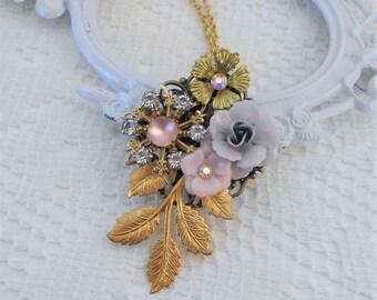 Floral Necklace, Gold Leaf Necklace, Assemblage Necklace, Collage Necklace, Heirloom Necklace, Pink and Gold Necklace, Vintage Flowers
