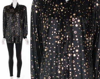 90s Black Star Print Slinky Blouse Oversized Slouchy Fit Gold and Black Star Print Top Small Medium