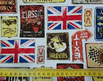 """Flag,License plate,medal,UK- 1 yard- cotton linen -3 colors  ,sewing ,United Kingdom, Check out with code """"5YEAR"""" to save 20% off"""