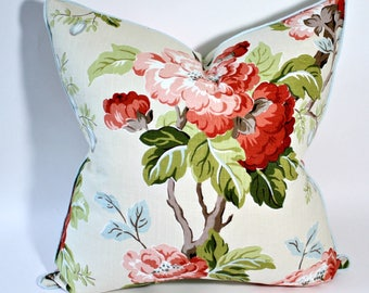 Charlotte Moss Floral linen 20 inch pillow cover