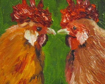 Roosters chickens palette knife art Giclee CANVAS PRINT of original oil painting by Sandra Cutrer Fine Art