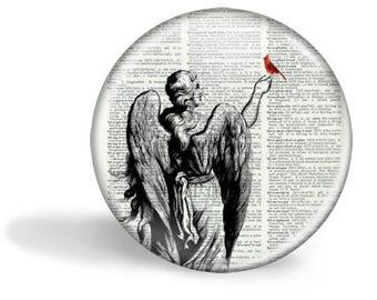 Angel and Cardinal Pocket Mirror Cardinal Magnet Cardinal Button Pin HHP Original Cardinal Gift