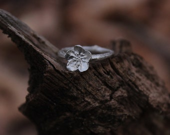 Ring branch and flower  , twig in sterling silver made to order