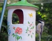 ON SALE Hanging Ceramic Bird Feeder with Flowers, Squirrel Proof