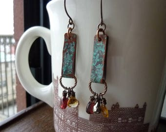Verdigris Patina Bars with Citrine Pyrite and Mozambique Garnet Briolette Earrings, Rustic, Bohemian, Boho Chic, Dangle Earrings