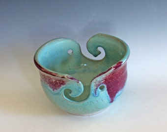 Yarn Bowl with 2 Sets of Feeders, knitting bowl, handmade ceramic yarn bowl, READY to SHIP
