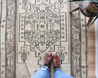 "vintage Turkish rug, muted faded geometric rug, happy worn bohemian rug, 8'4"" x 3'11"""