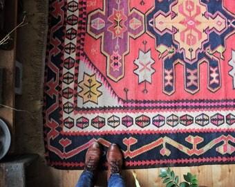 9.5' x 6' vintage kilim rug, rustic colorful geometric Kazak area rug, happy worn bohemian flat weave rug