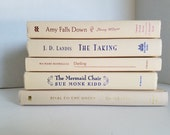 Set of 5 Ivory Books; Home or Wedding Decor; Instant Library; Book Display; Photo Prop