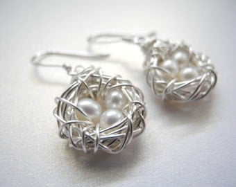 Petite Bird Nest Earrings, Three White Cultured Freshwater Pearls in Wire Wrapped Nests, Sterling Silver Earring Hooks