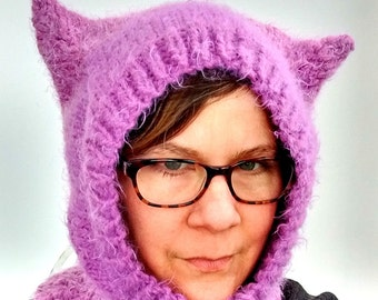 Lavender Fuzzy Kitty Cat Ear Hat Knit Balaclava Hood Size Adult Large/X-Large