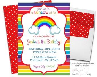 Rainbow Birthday Party Invitation, Rainbow Birthday Invite, Rainbow Party Invitation, Rainbow Invitation, Girls Birthday Invitation