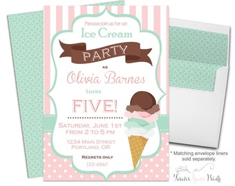 Ice Cream Party Invitations - Ice Cream Party Invites - Ice Cream Invitation - Ice Cream Invites - Ice Cream Shoppe - Summer Invitations