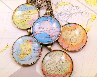 """Turn your Ornament into a pendant,    Antique Bronze Chain, 23 or 30"""", / HONEYMOON Gift / Wedding Map Gift / Travel Tree Ornament /"""