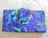 Fabric Wallet - Purple and Blue Batik