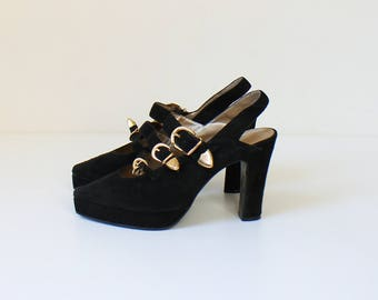 Dolcis - Paris Platform High Heels with Buckles // 1980s Vintage Black Suede Pointed Toe Slingback Pumps // Shoe Size 6.5