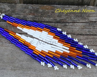 Native American Beaded Earrings - Bugle Bead - Shoulder Duster - Blue and Orange
