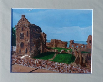 St Andrews Castle, Fife, Scotland, an original Acrylic painting in a mount.