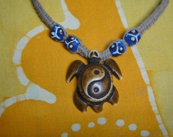 Yin Yang Sea Turtle African Bead Hemp Necklace Mens Jewelry Gift for Him Tribal