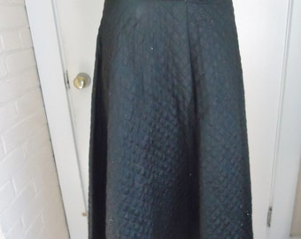 High Waisted Black Quilted Vintage 1950's Women's FULL CIRCLE Holiday Skirt S M