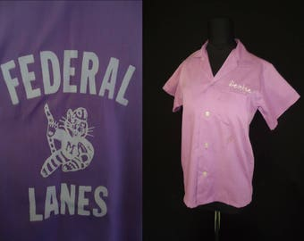 DENISE Embroidered Purple Rockabilly Vintage 1950's Federal Lanes Women's BOWLING Shirt XS S