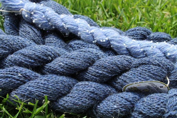 Merino Yarn Denim Blue with Angelina and Pearls- 5/50- 75 yards per skeins   BARGAIN - Close Out Yarn-Knitting Crochet Weaving Spinderellas
