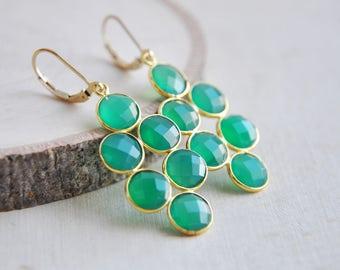 Green Onyx Earrings, Green Earrings, Onyx Earrings, Gold Filled Earrings, Gold and Green Earrings, Everyday Earrings, Birthstone Earrings