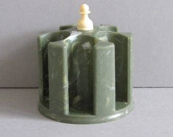 Vintage Green Marbled Plastic Spool Holder - Victory of Chicago