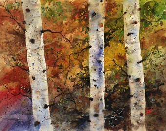 AUTUMN TREES Watercolor Print by Dean Crouser