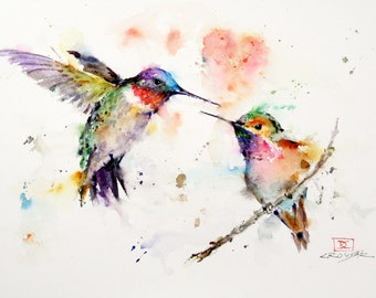 HUMMINGBIRD Greeting Cards, Set of 8, Watercolor by Dean Crouser, Free Shipping!