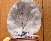 """Wire Tree of Life sculpture, Soul Mate Wind Spirits, White Geode, Morocco Quartz Crystal, Wedding, Holiday House warming unique gift, 4"""""""
