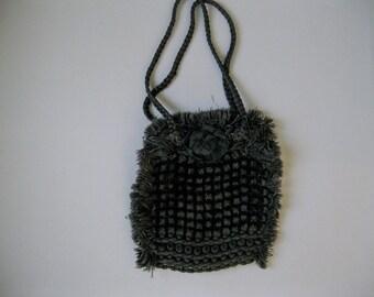 Victorian Black Purse - Chenille Crochet Fringe and Satin Handbag -